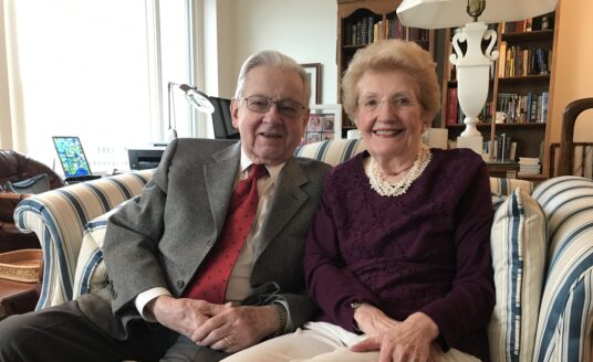 Bethesda Barclay House Sweethearts Austin and Barbara Montgomery celebrate Valentine's Day at their Independent retirement living community in Clayton, Missouri