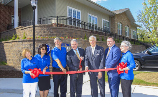 The ribbon cutting ceremony at Bethesda Hawthorne Place Grand Opening Ceremony. Hawthorne Place is the newest assisted living and memory support community in the Kirkwood and Webster Groves area.