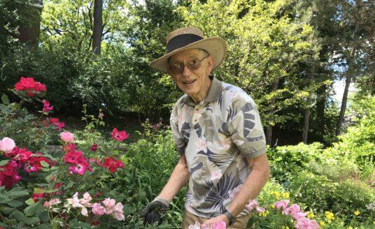 Bethesda Orchard resident Emil Beier working on the garden.