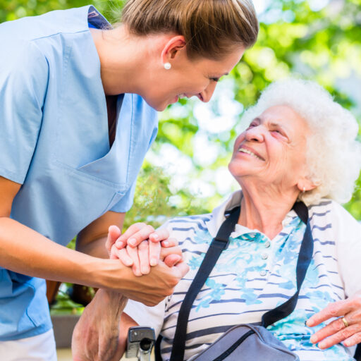 Senior woman receiving respite care. Respite care helps caregivers of seniors take a much needed break and reduces stress.