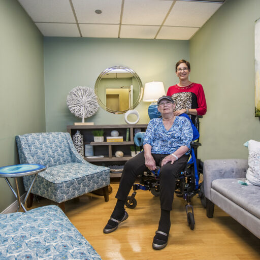 Robin Light and her sister Hope Herndon in the Reflection Room at Barnes-Jewish Extended Care. At Bethesda, we know the importance of quiet spaces in long-term care to make residents and their families feel at home.