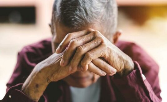 Isolated older adult grieving