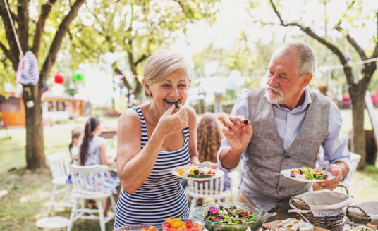 A well-balanced and easy diet for seniors isn't as hard as you might think! Keep it simple, add variety, and try to eat more whole foods, like this senior couple is demonstrating.