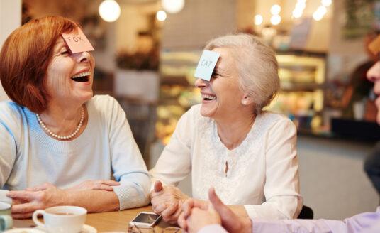 Senior women play games for better health