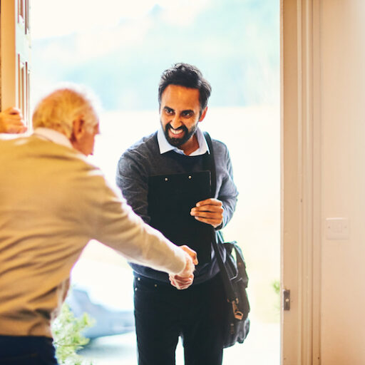 A son helps his senior father to live independently