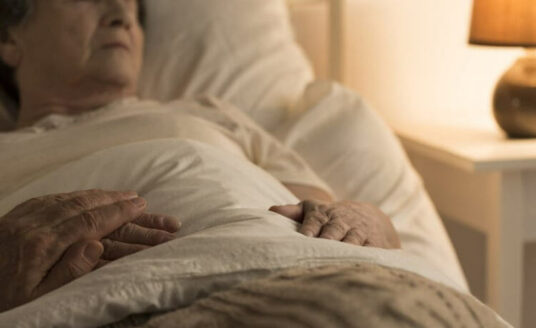 A woman dying at home in hospice care