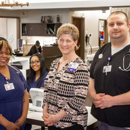 Karen Zurick, Director of Nursing at Barnes Jewish Extended Care, with her coworkers.