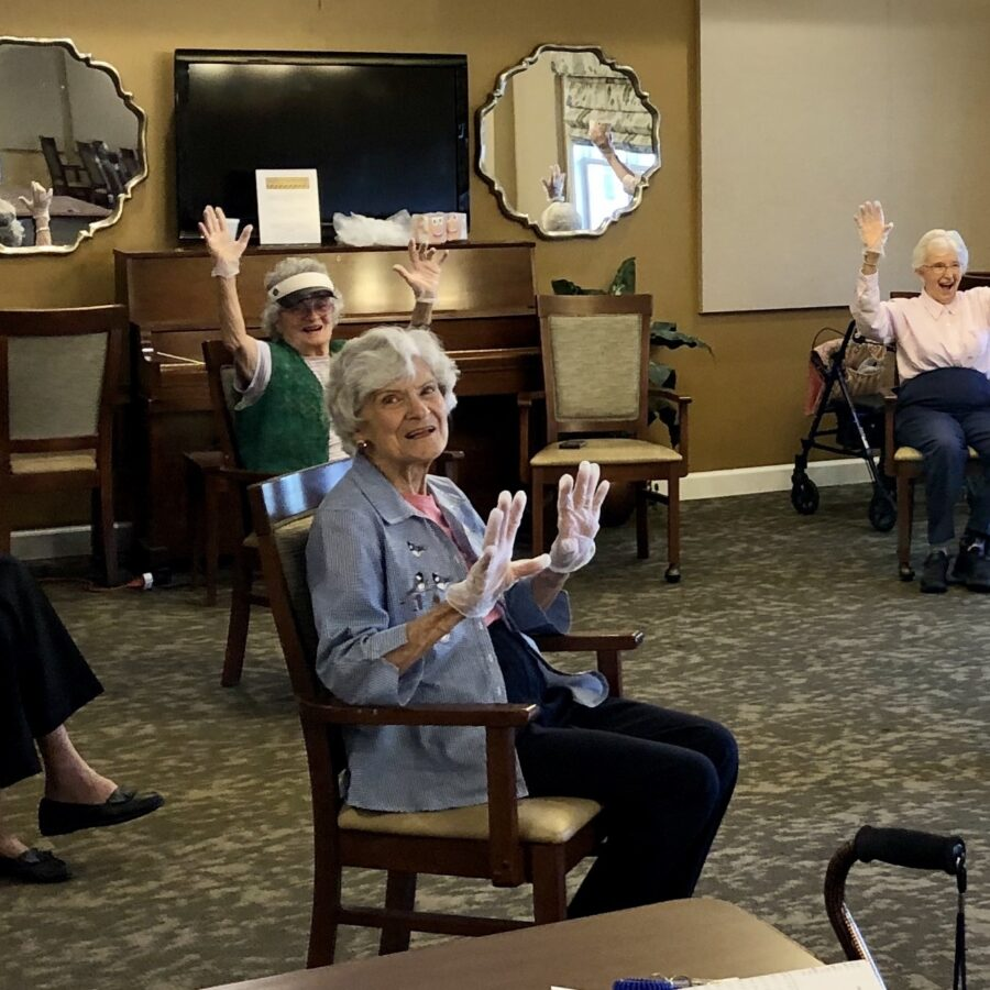 Seniors conducting social distancing
