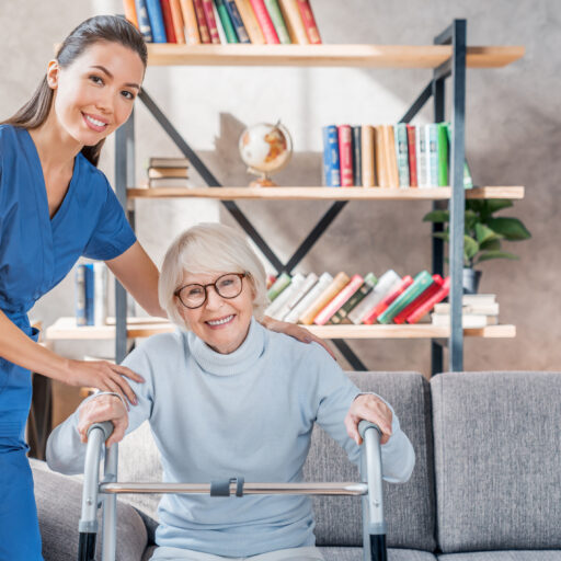 nurse helping senior in order to prevent common home accidents