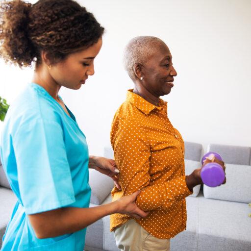 Therapist conducting in-home rehabilitation