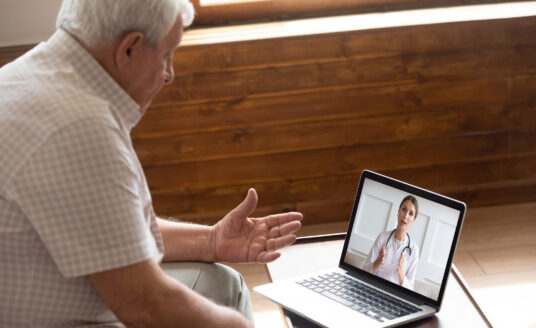 Older patient using telemedicine services