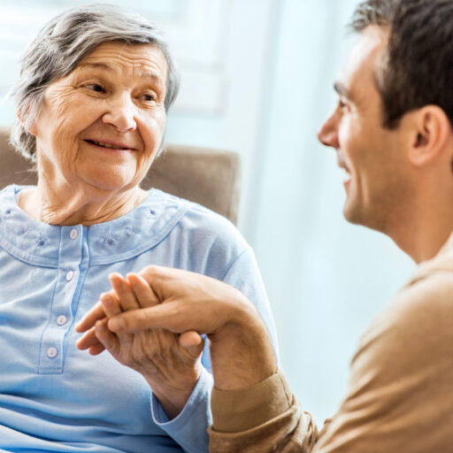 Adult son able to manage dementia communication with senior mother.
