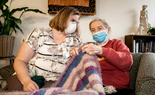Evelyn Elmore shares her love of crocheting with Tonya Grant at Alton Memorial Rehabilitation & Therapy.