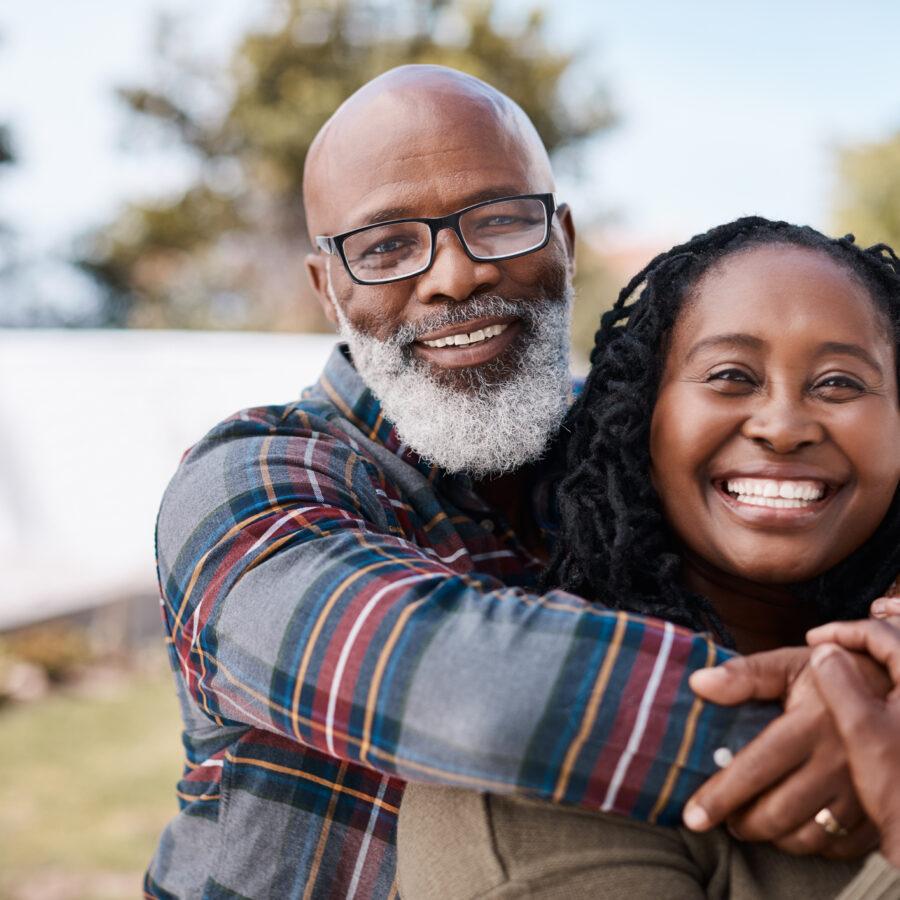 Senior couple enjoying life at retirement community