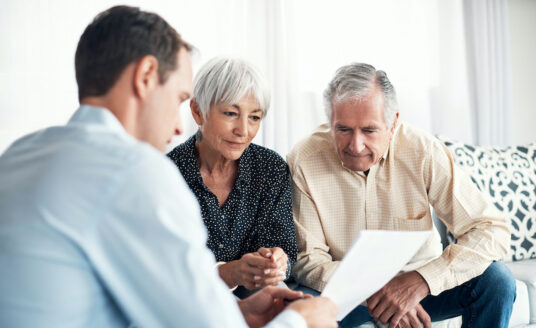 A senior couple considers a move into an independent living community