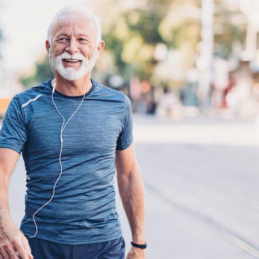 Aging senior walking for exercise