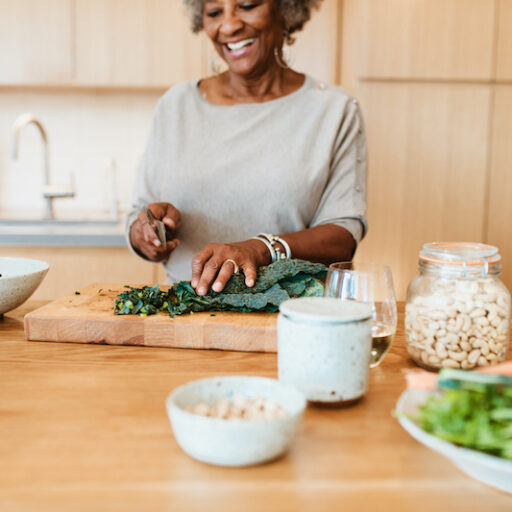 Senior woman eating healthy with a delicious recipe