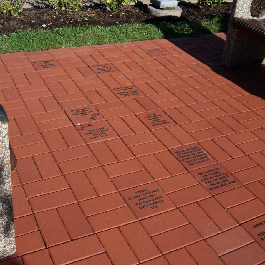 A walkway filled with Bethesda commemorative bricks