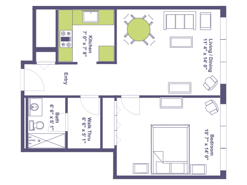 Floor plan of Barclay House's 611 square foot one bedroom