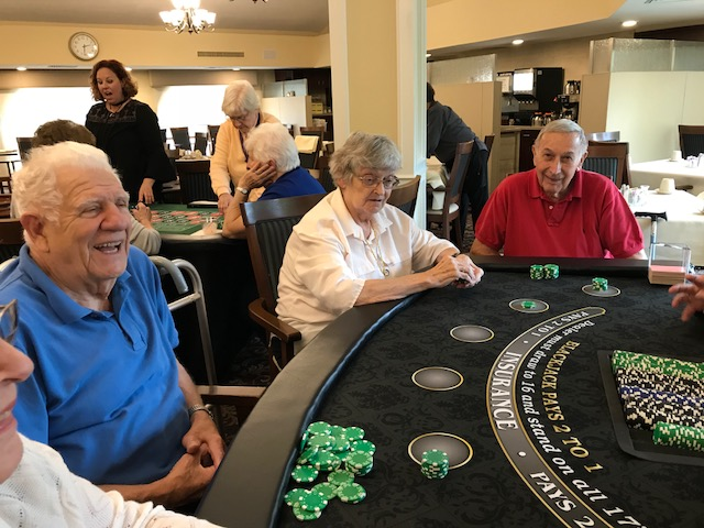 Seniors enjoy a poker night at Bethesda Terrace