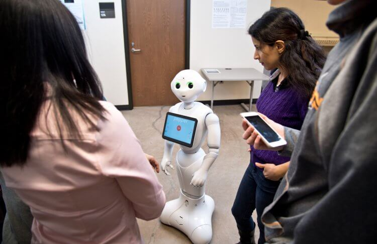 Social Robots help seniors with dementia and other health issues. Here, we see Pepper as it responds to a prompt.