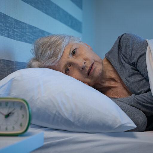 Senior woman experiencing sleep concerns
