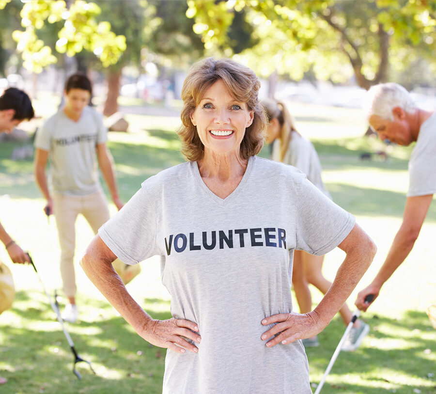 A middle aged female volunteer at Bethesda